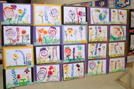 Art Show photograph showing student artwork taught by the Los Altos Art Docents
