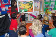 Photo of Los Altos Art Docent teaching in a classroom